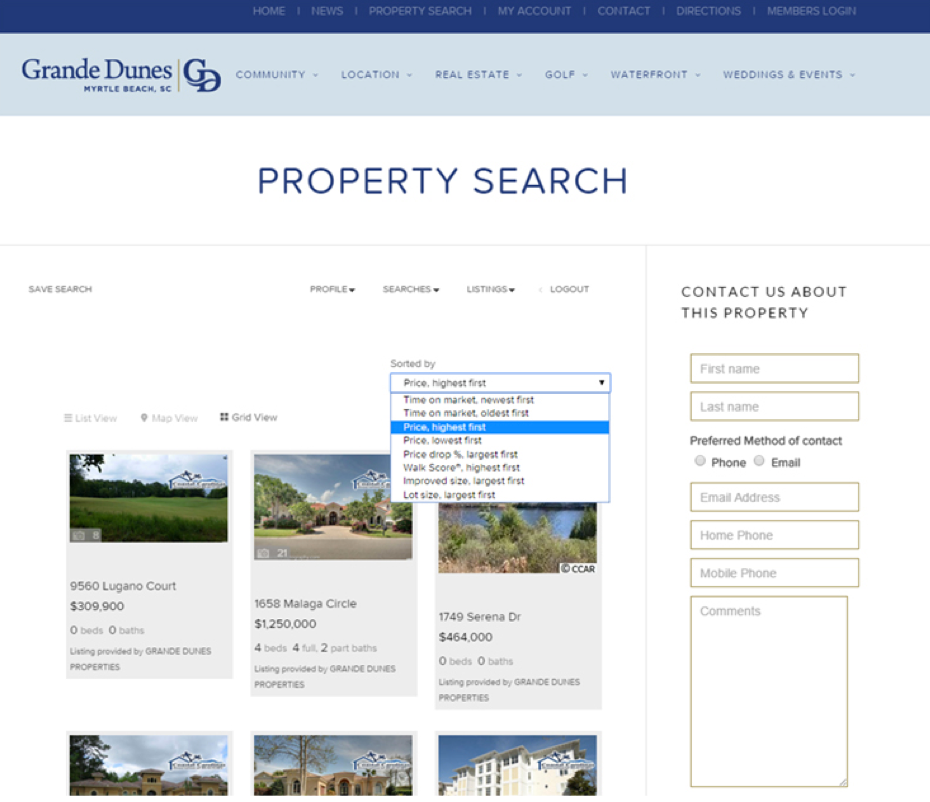Grande Dunes Property Search